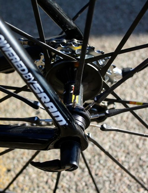 Threaded non-drive spokes on Mavic's Cosmic Carbone Ultimate allow mechanics to true the rear wheel when needed