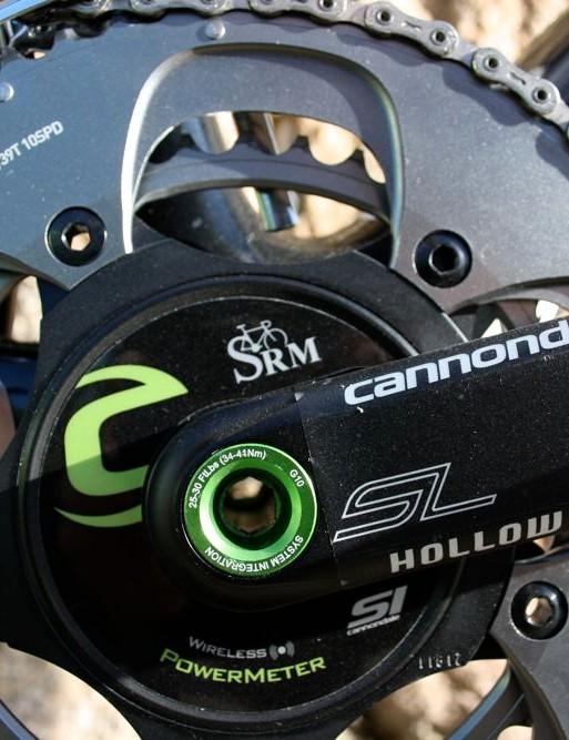 SRAM Red chainrings are fitted to Cannondale's own Hollowgram SL crankarms and SRM's power measuring spider