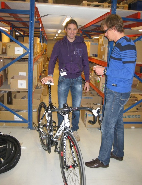 Vacansoleil's Borut Bozic stands proudly with his new Ridley