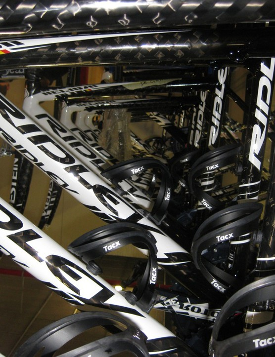 A fleet of new Ridley Helium carbon frames await assembly for the Vacansoleil team