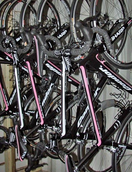 The stolen bike is black with Rapha's trademark pink detailing