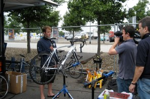 Running through one of the team bikes for a TV crew in 2007