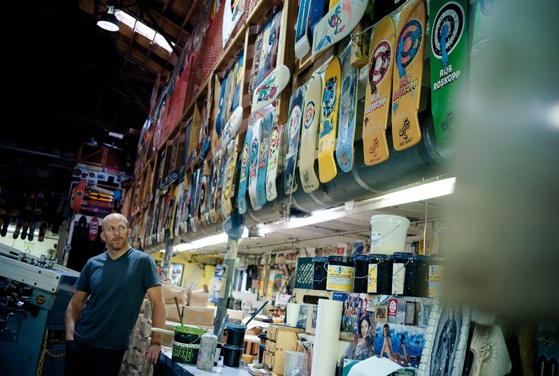 Santa Cruz are drenched in Rob's history, as this wall of Roskopp skateboards testifies