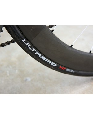Fat 25mm-wide Schwalbe Ultremo HT tubulars were glued up when we caught up with Andy Schleck's (LEOPARD TREK) bike in Palma de Mallorca but team liaison Ben Coates says the riders will more likely use 21mm or 22mm-wide tires for racing