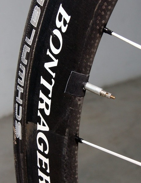 A bit of tape keeps the extra-long valve stem from rattling