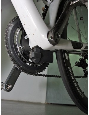 Trek's trick Dura-Ace Di2 integration kit includes a bottom bracket-located mount for the battery