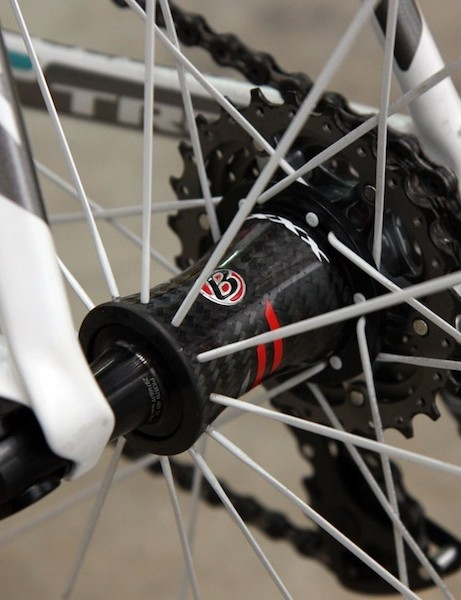 The rear Bontrager Race XXX Lite hub uses DT Swiss star ratchet internals