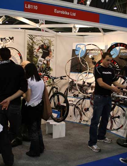Eurobike - not to be confused with the German trade show - had lots of interest in the American Classic wheels and Moda bikes on their stand