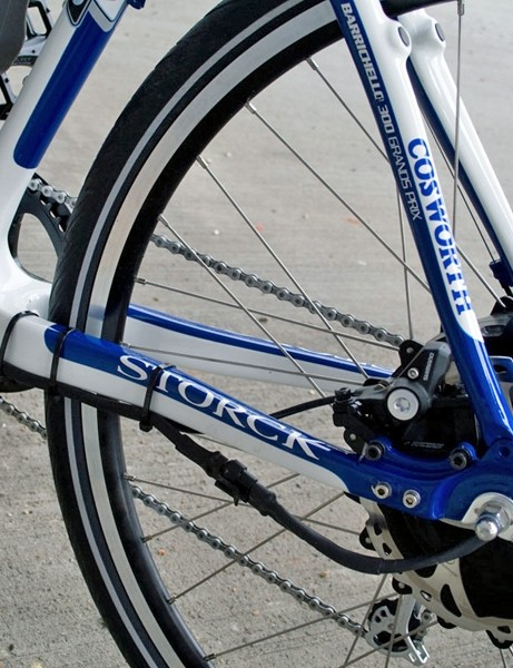 The cable routing isn't pretty but it means the battery and rear wheel can be quickly removed if you want to convert your bike into a standard hybrid