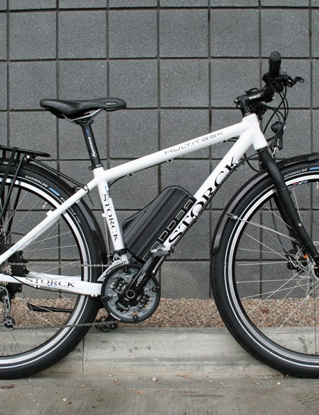 This is the £2,700 alloy Storck Raddar Multitask, complete with rack, mudguards and dynamo lights