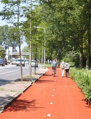 The Dutch are investing €80m in 'queue-free cycling'. Pictured is a cycle route in Delft