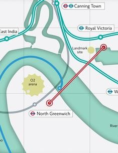 Map showing the proposed cable car route across the River Thames in London