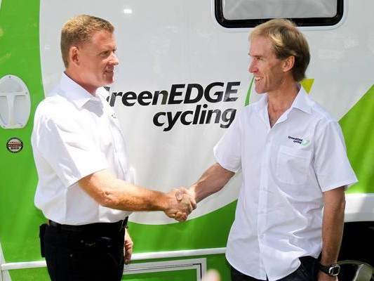 Shayne Bannan and directeur sportif Neil Stevens of the new GreenEDGE team