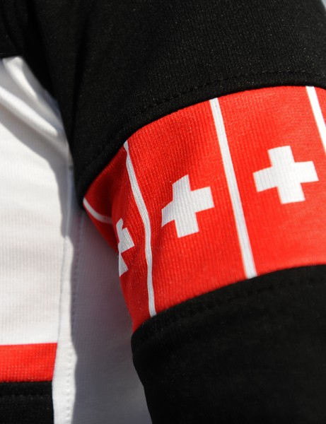 Inset national color armbands are available in Swiss, Belgian, Italian, and Australian motifs.