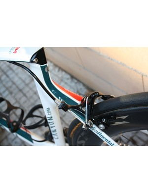 Campagnolo has told us that it expected mostly amateurs to go for its recently reintroduced dual-pivot rear brake option but Philippe Gilbert (Omega-Pharma Lotto) has apparently done so as well for additional braking power.