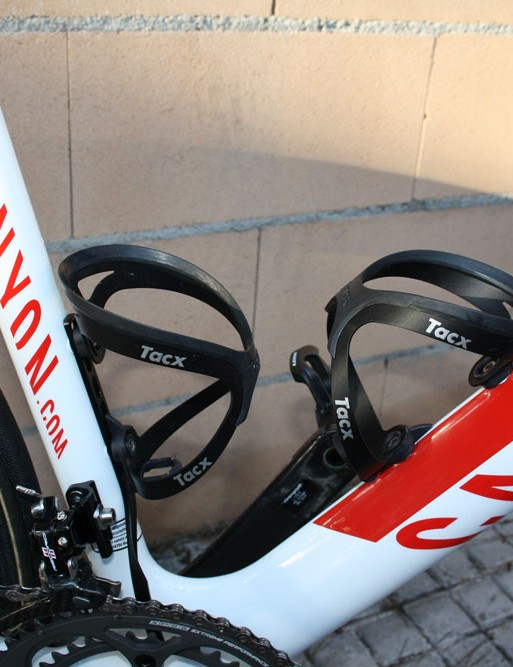 A pair of Tacx Tao aluminum cages sit waiting for bottles.