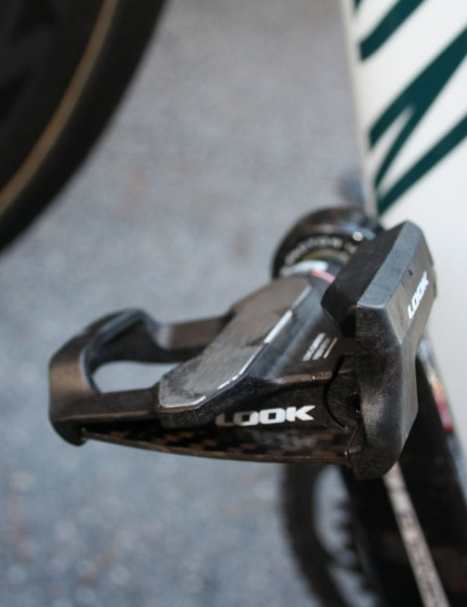 Look's latest KeO Blade pedals use carbon fiber leaf springs.