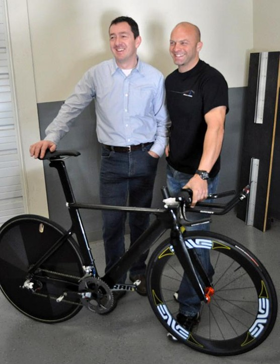 Chris Boardman, left, and A2 Wind Tunnel's Mike Giraud pose with a prototype Boardman time trial bike