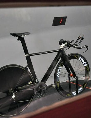 The Boardman prototype time trial bike set up in the wind tunnel