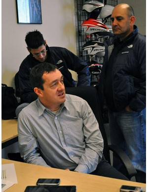 Chris Boardman and UnitedHealthcare Pro Cycling's Mike Tamayo, left, and Thierry Attias