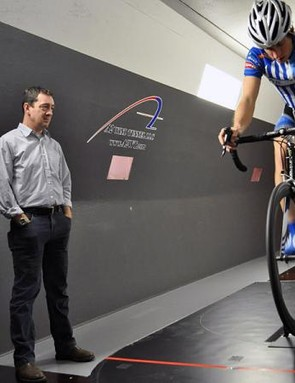 Chris Boardman visited the A2 Wind Tunnel in North Carolina, USA to help the UnitedHealthcare squad perfect the setup of their new Boardman bikes. Here, he examines Scott Zwizanski's road bike position