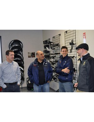 Chris Boardman, UnitedHealthcare's Thierry Attias and Mike Tamayo, and Iñigo San Millán (l-r) at the A2 Wind Tunnel
