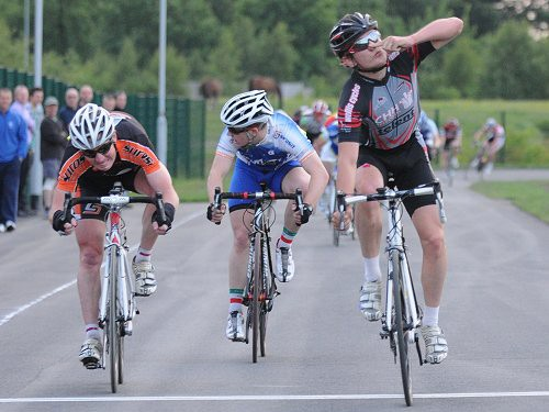Lewis Balyckyi winning the first race at the new Tameside Cycle Circuit last summer