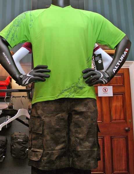 Altura's Mayhem Bamboo Abstract Tee jersey and Fatigue shorts