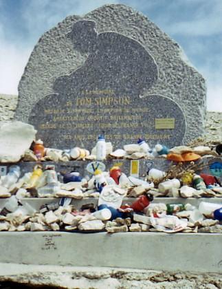 The memorial to Tom Simpson on Mont Ventoux