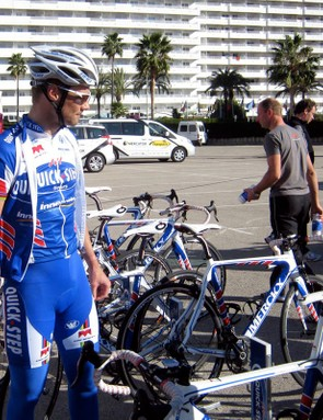 Tom Boonen (Quick Step) walks over to his bike before the day's ride.