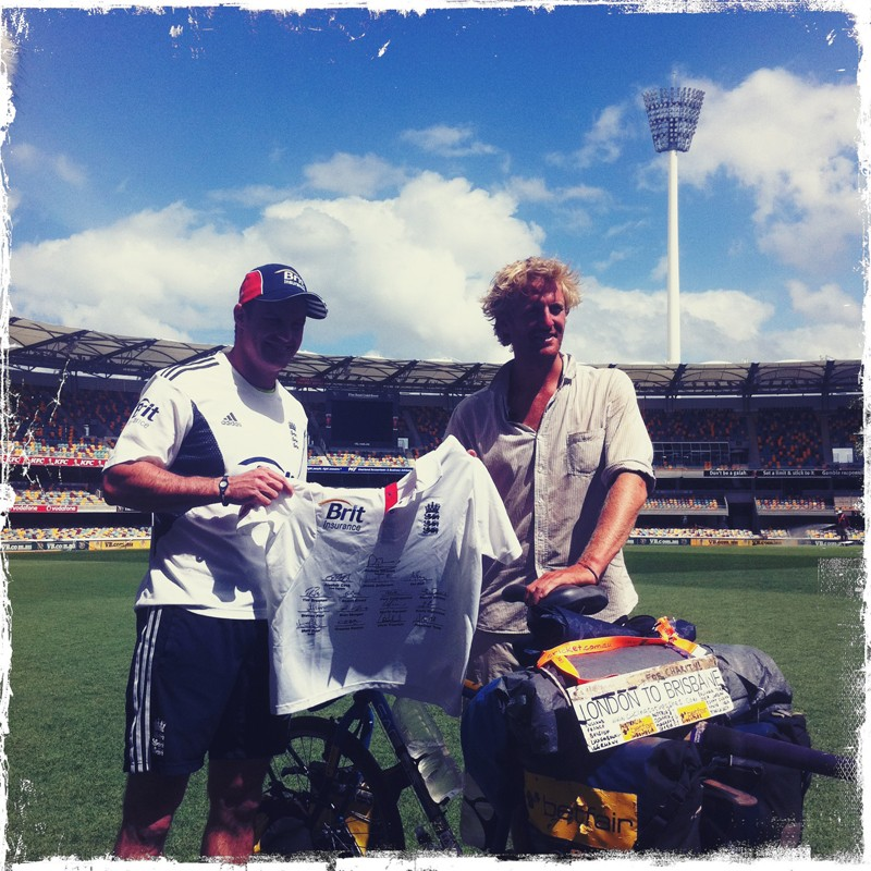 Oli Broom with Andrew Strauss at The Gabba in Brisbane