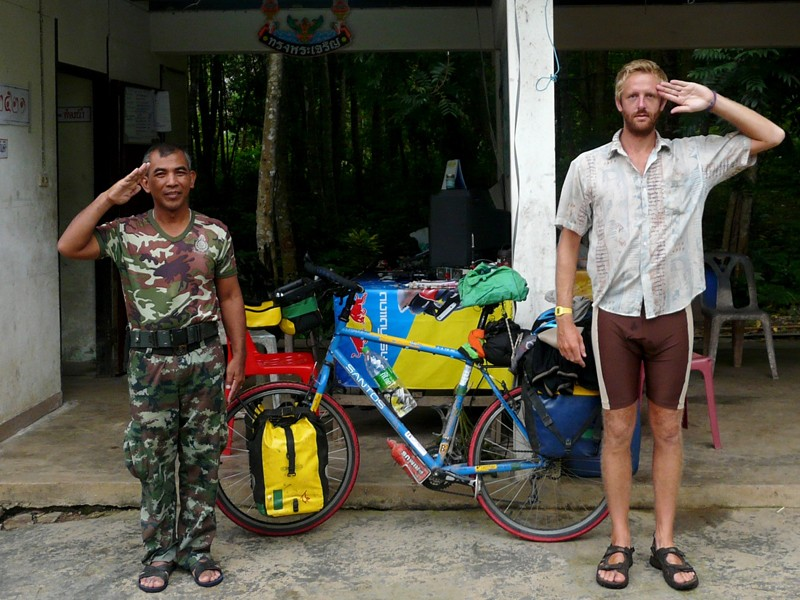 Oli just about to leave a Thai military checkpoint on the Burmese border after a night's sleep there