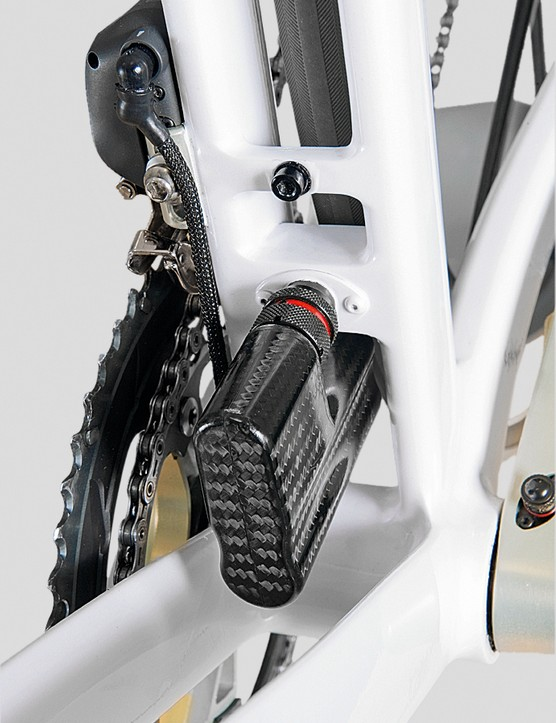 The ideal position for the Dura-Ace Di2 battery is low and central. It's housed in carbon fibre, of course