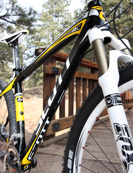 The Scott Scale 29 RC hardtail frame is lighter than many road frames
