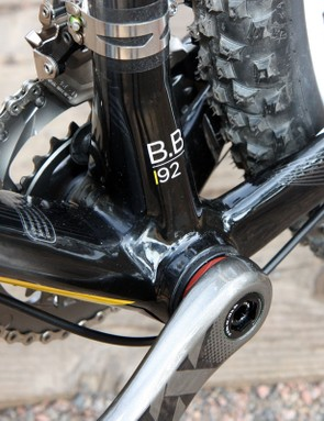Press-fit bearing cups allow for a wider bottom bracket shell and more real estate for the down tube, seat tube, and chain stays
