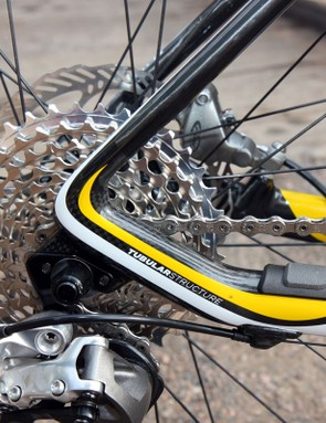 The chain stays and seat stays end up as one continuous hollow structure, resulting in less redundant material and less weight
