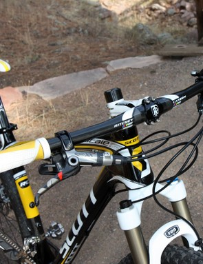 The 660mm-wide bar is a refreshing change from ultra-narrow bars still used by many other hardtails