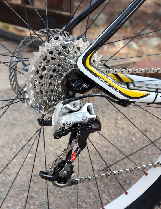 Front shifting on the SRAM XX group is suberb, largely owing to the ultra-thick and stiff chainrings and clever X-Glide tooth shaping patterns