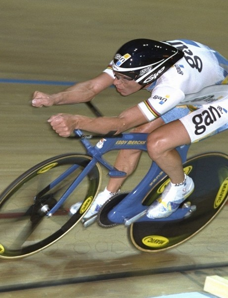 Chris Boardman (on his way to setting the hour record in 1996) used an extreme position - now outlawed by the UCI - to reduce drag