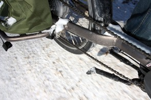 The highly flat resistant Bontrager tires on the Trek Transport+ have been great for the most part but compacted snow and ice definitely aren't among their strengths. I've managed to keep the bike upright so far, but only just on some occasions. Yikes!