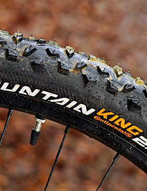 Continental's Mountain King tyres are fast and grippy in the dry but a scary handful on slimy winter trails