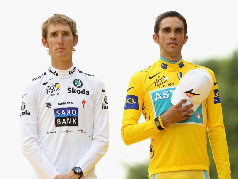 Andy Schleck and Alberto Contador at the finish of the 2010 Tour de France