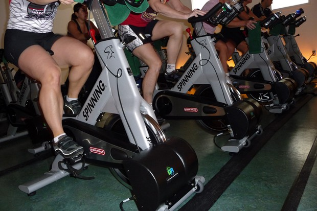 Each Green Revolution equipped spin bike produces roughly 125 watts of usable electricity an hour