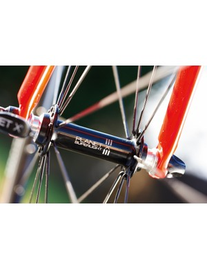 Planet X wheels get bladed spokes for a sweet look and faster speed, and their light weight matches the bike well too