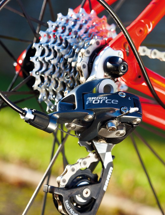 Once you're used to the 'double tap' shifting system, SRAM's Force gearing is quick to shift and very light for the price