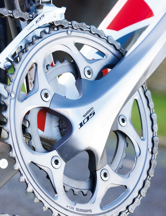 Shimano 105 gearing is a rock-solid choice for trouble-free transmission and the BMC gets the chainset to match too