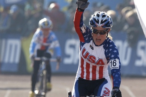 Katie Compton crosses the finish line in second place at the 2011 Cyclocross World Championships in Germany