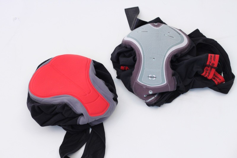 The Race pad is inForm designed, but overall it is slightly inferior to Bontrager's RXL one-piece pad (shown right)