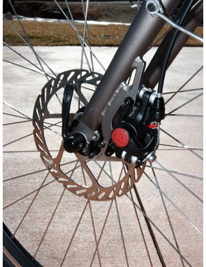 The Avid BB5 front disc brake is a must-have for slowing down big loads  It's not quite as nice as a good hydraulic (and it's too bad there isn't one out back, too) but it gets the job done and is easy to maintain