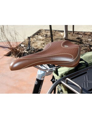 The Bontrager H1 saddle is well suited for the bike's upright positioning